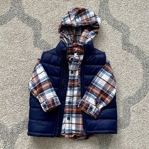 BUNDLE: Flannel Hooded Shirt & Padded Vest